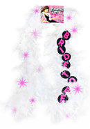 Flashing Party Feather Boa Bride To Be White 6 Foot