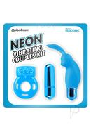 Neon Silicone Vibrating Couples Kit Blue