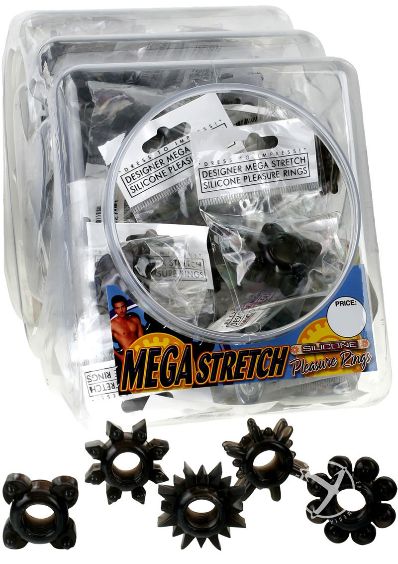 Mega Stretch Silicone Pleasure Rings 72 Per Bowl Black