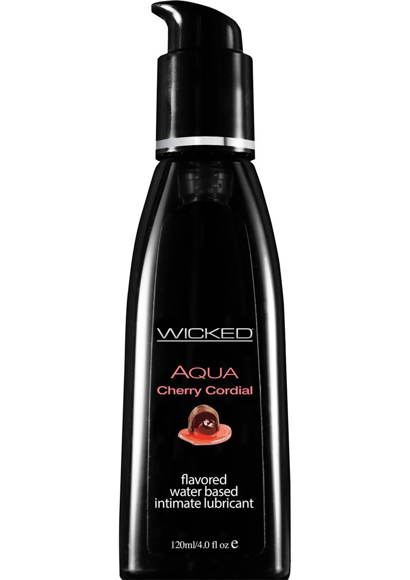 Wicked Aqua Water Based Flavored Lubricant Cherry Cordial 4 Ounce